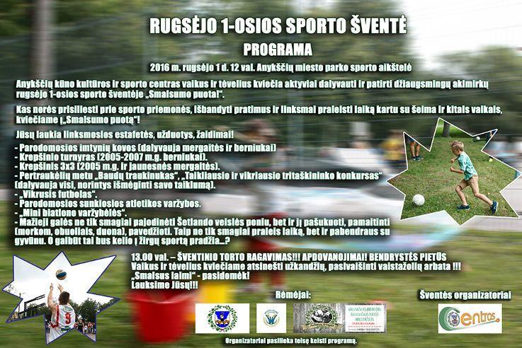 """Rugsėjo 1-osios sporto šventė """"Smalsumo puota!"""""""