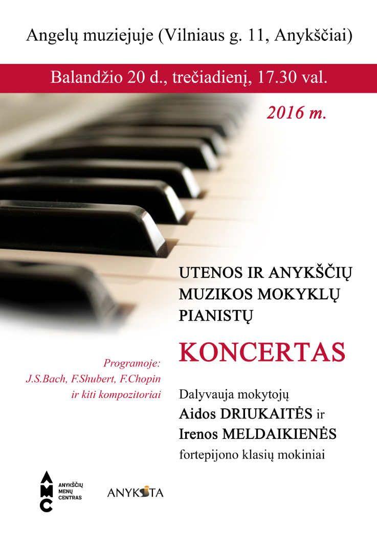 Utenos ir Anykščių muzikos mokyklų pianistų koncertas