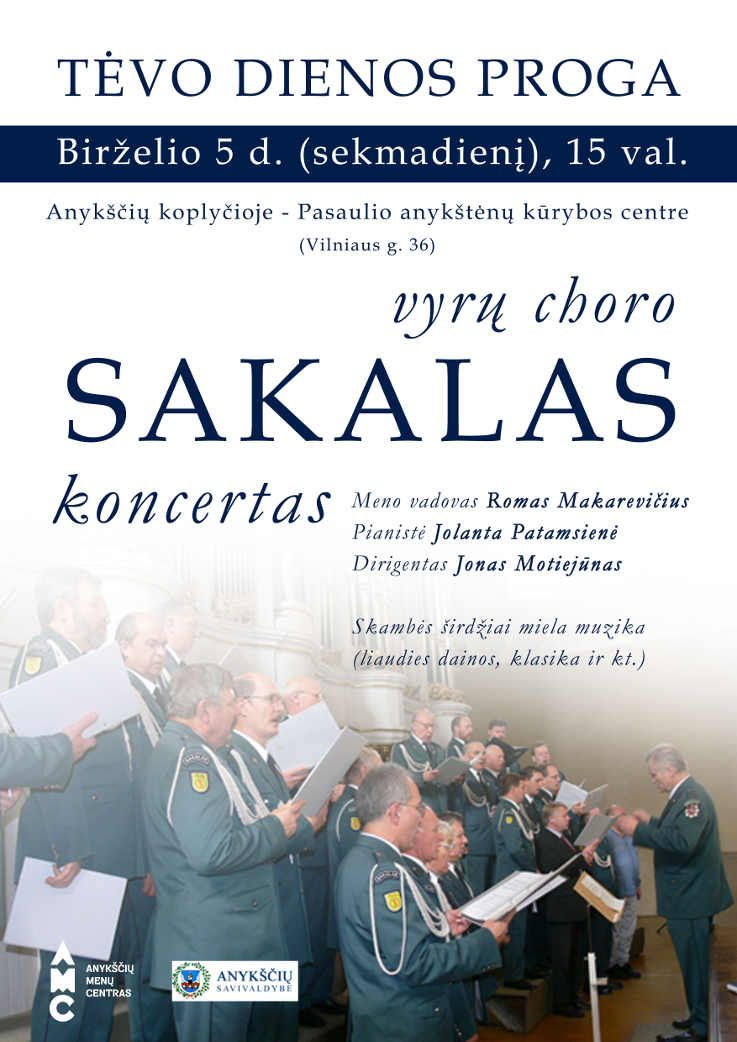 """Vyrų choro """"Sakalas"""" koncertas, skirtas tėvo dienai"""