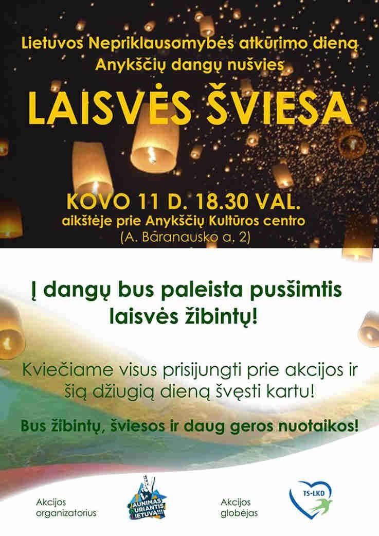 """Kovo 11 - osios akcija """"LAISVĖS ŠVIESA"""""""