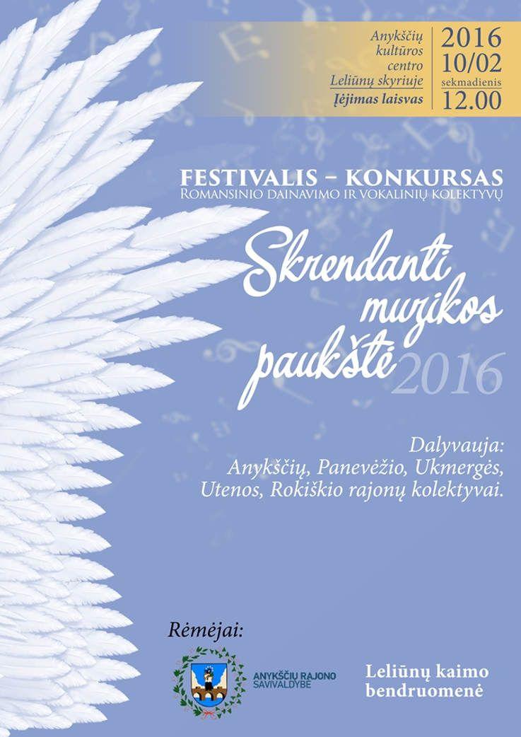 """Festivalis – konkursas """"Skrendanti muzikos paukštė"""" (2016)"""