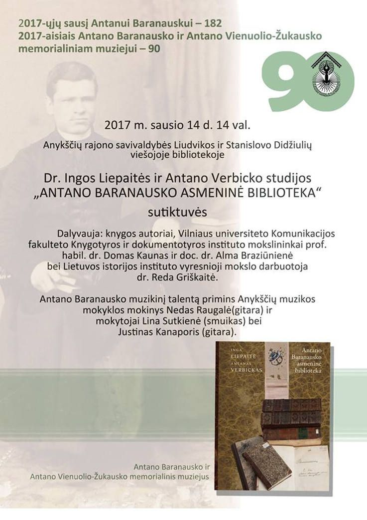 """Ingos Liepaitės ir Antano Verbicko studijos """"Antano Baranausko asmeninė biblioteka"""" sutiktuvės"""