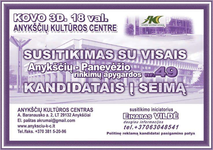 Susitikimas su Anykščių - Panevėžio rinkimų apygardos nr. 49 kandidatais į Seimą