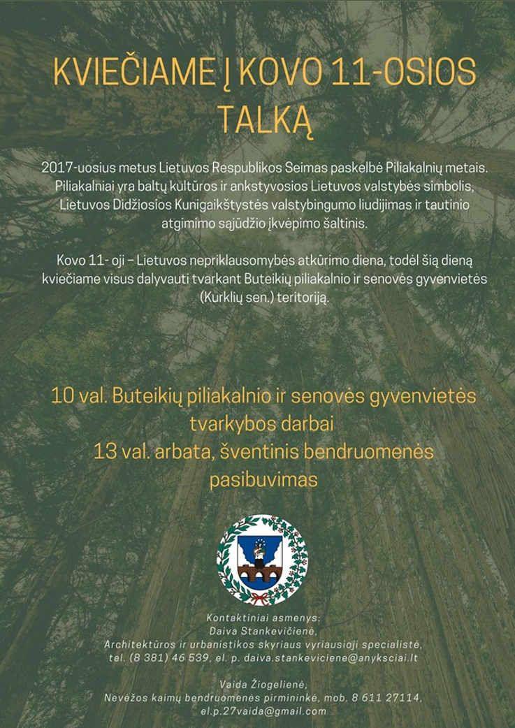 Kovo 11-ąją kviečia pasitikti gražinant Buteikių piliakalnį