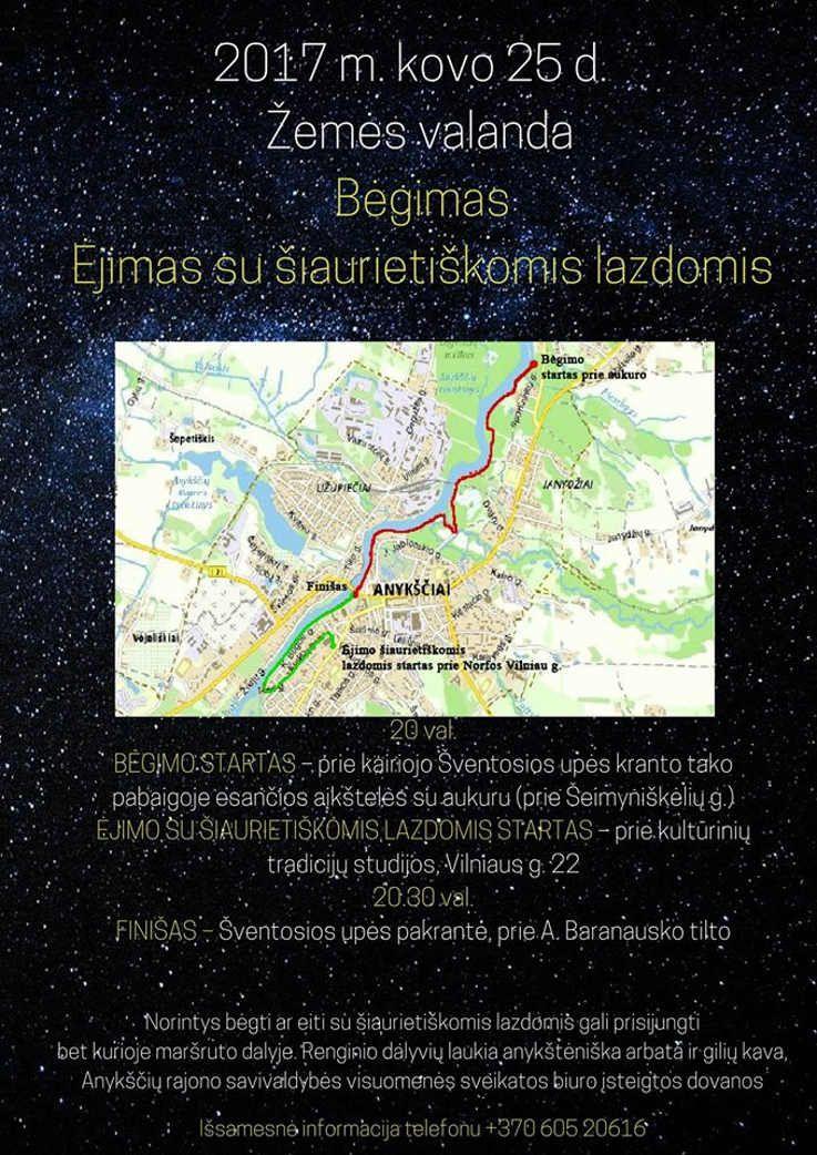 """Pasaulinė iniciatyva """"Žemės valanda"""" (2017) - Ėjimas su šiaurietiškomis lazdomis"""