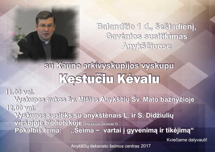 Susitikimas su Kauno arkivyskupijos vyskupu Kęstučiu Kėvalu