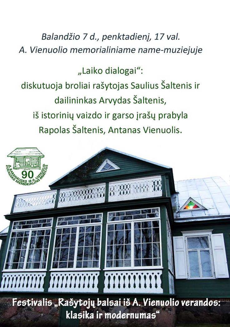 """Festivalis """"Rašytojų balsai iš A. Vienuolio verandos: klasika ir modernumas"""" - """"Laiko dialogai"""""""