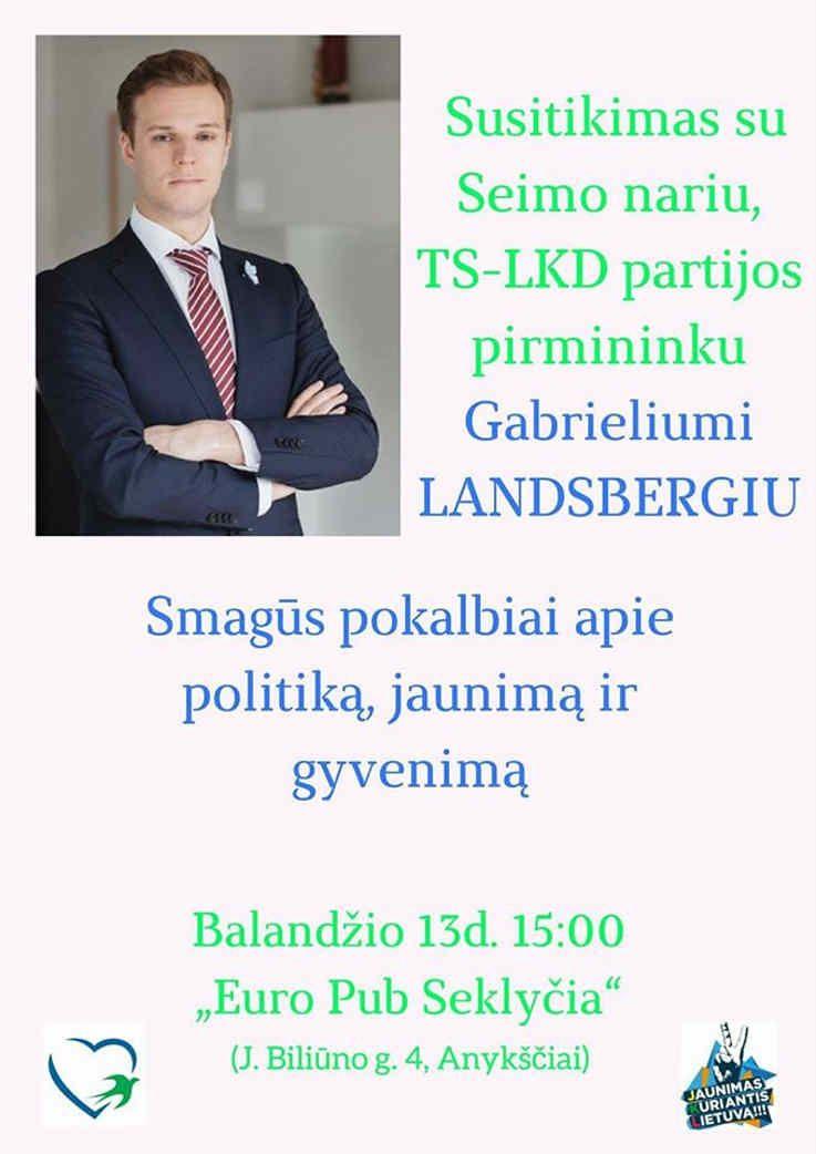 Susitikimas su Seimo nariu, TS-LKD partijos pirmininku Gabrieliumi Landsbergiu