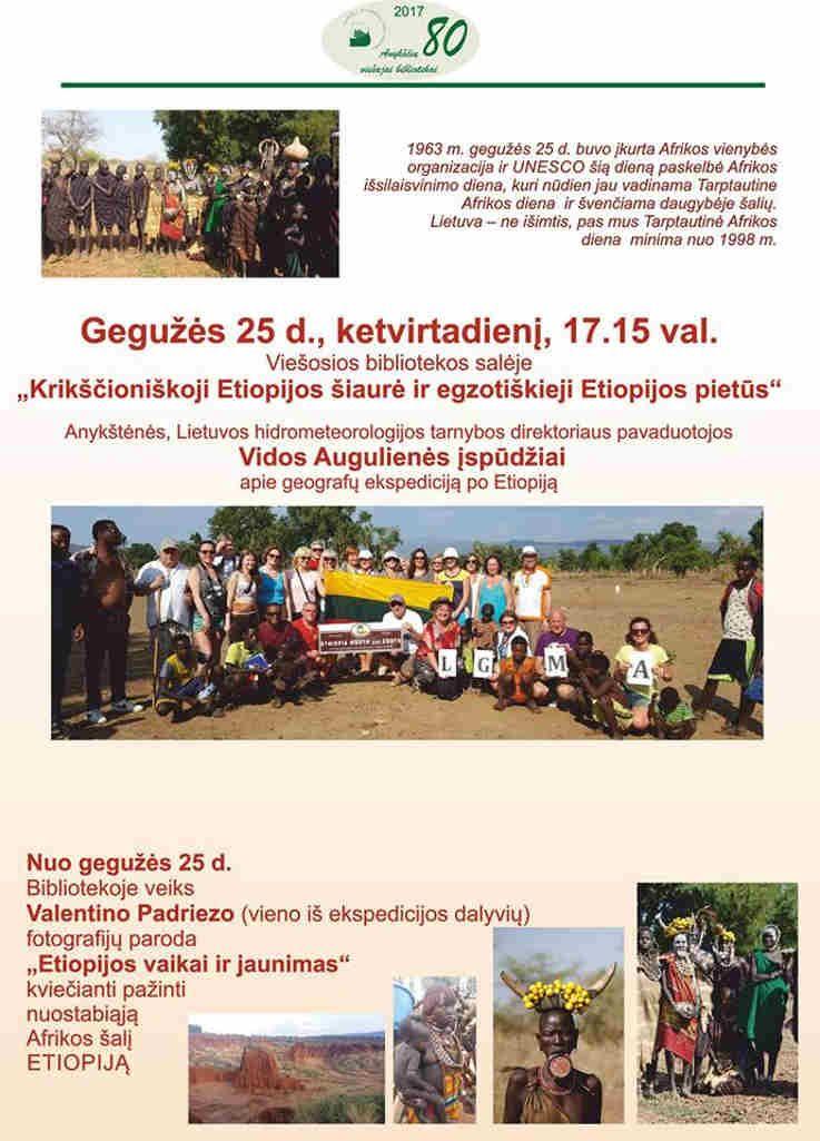 """Vidos Augulienės įspūdžiai apie geografų ekspediciją po Etiopiją """"Krikščioniškoji Etiopijos šiaurė ir egzotiškieji Etiopijos pietūs"""""""