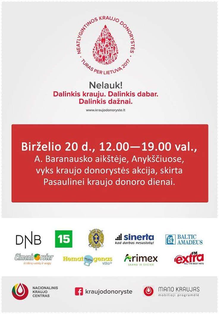 Kraujo donorystės akcija, skirta Pasaulinei kraujo donoro dienai