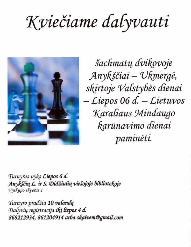 Valstybės (Lietuvos karaliaus Mindaugo karūnavimo) diena (2017) - Šachmatų dvikova Anykščiai - Ukmergė