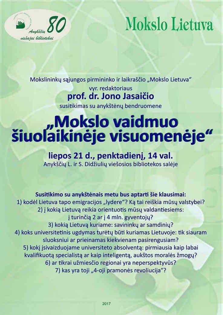 """Jono Jasaičio susitikimas su anykštėnų bendruomene """"Mokslo vaidmuo šiuolaikinėje visuomenėje"""""""