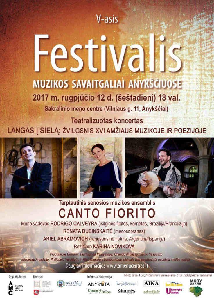"""Festivalis """"Muzikos savaitgaliai Anykščiuose"""" (2017) - Tarptautinis senosios muzikos ansamblis """"Canto Fiorito"""""""