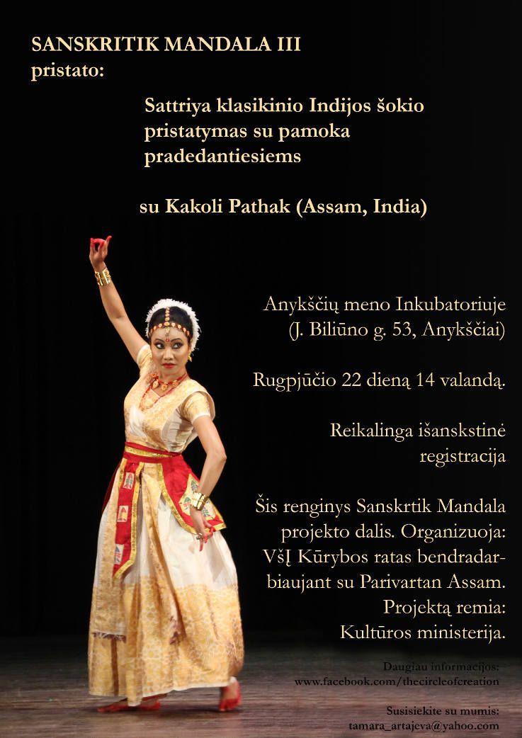 Sattiriya klasikinio Indijos šokio pristatymas su pamoka pradedantiesiems