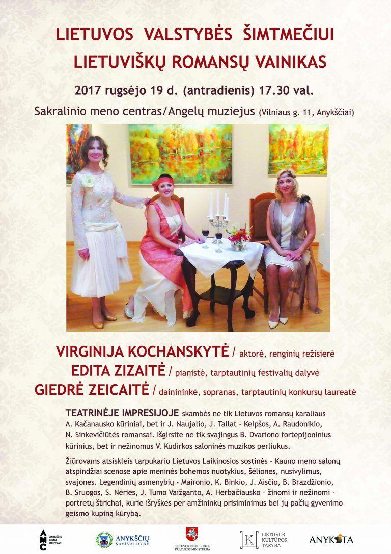 """Lietuvos valstybės šimtmečiui skirtas """"Lietuviškų romansų vainikas"""""""