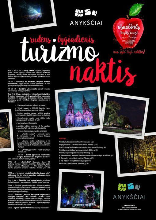 """Derliaus šventė """"Obuolinės"""" (2017) - Turizmo naktis - Netradicinės veiklos Anykščių kultūros ir turizmo objektuose"""