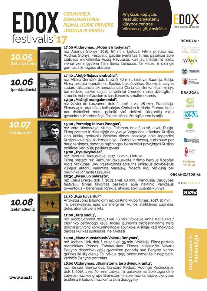 """Dokumentinių filmų festivalis """"EDOX"""" (2017) - """"Ateljė Rojaus drabužiai"""""""