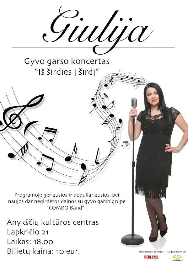 """Giulijos ir grupės """"COMBO band"""" gyvo garso koncertas """"Iš širdies į širdį"""""""