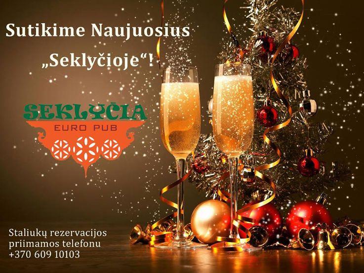 """Naujųjų metų sutikimas restorane """"Seklyčia Euro Pub"""""""