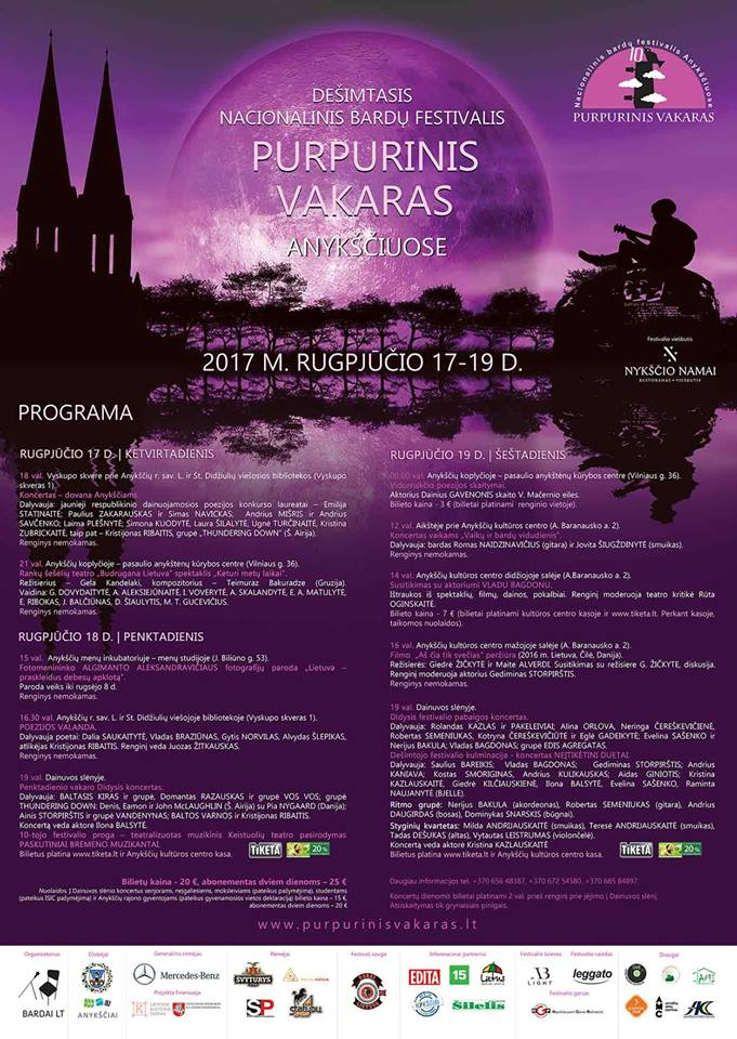 """Festivalis """"Purpurinis vakaras"""" (2017) - Penktadienio vakaro Didysis koncertas"""
