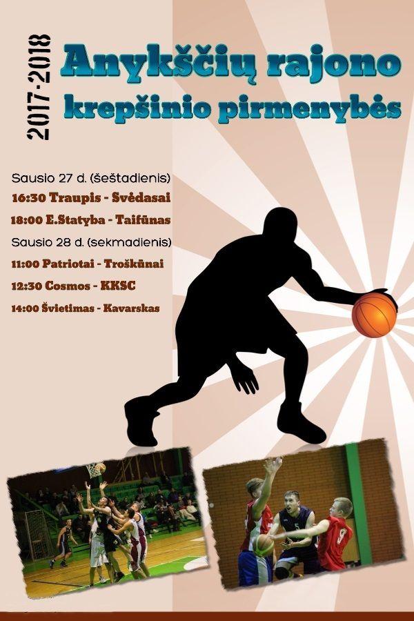 """Anykščių rajono krepšinio pirmenybės VII turas - """"E.Statyba"""" - """"Taifūnas"""""""