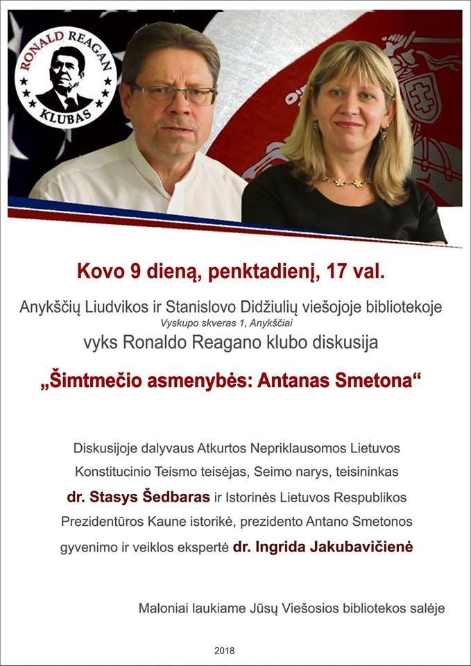 """Ronaldo Reagano klubo diskusija """"Šimtmečio asmenybės: Antanas Smetona"""""""
