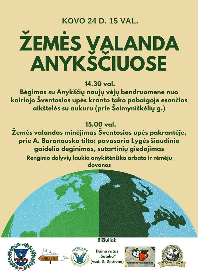 """Pasaulinė iniciatyva """"Žemės valanda"""" (2018) - Žemės valandos minėjimas Šventosios upės pakrantėje"""