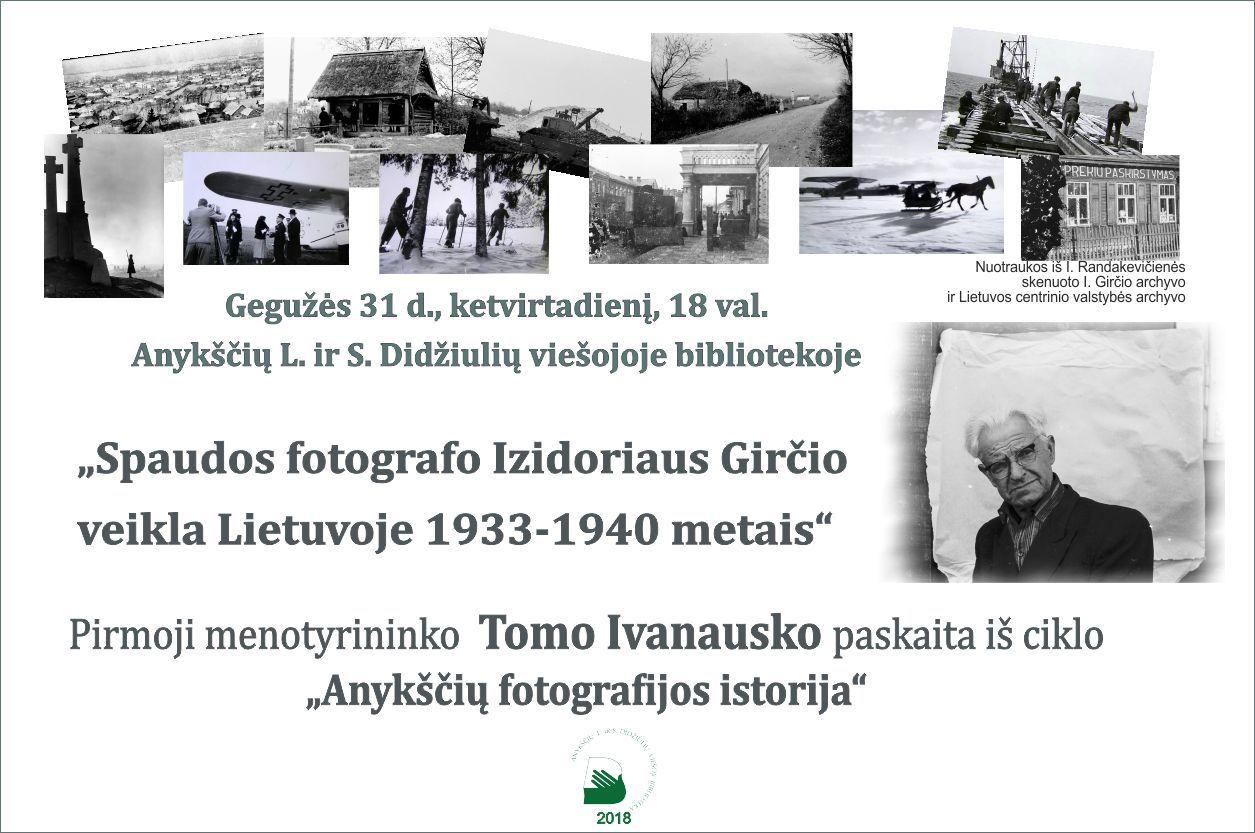 """Fotografo Tomo Ivanausko paskaita """"Spaudos fotografo Izidoriaus Girčio veikla Lietuvoje 1933-1940 metais"""""""