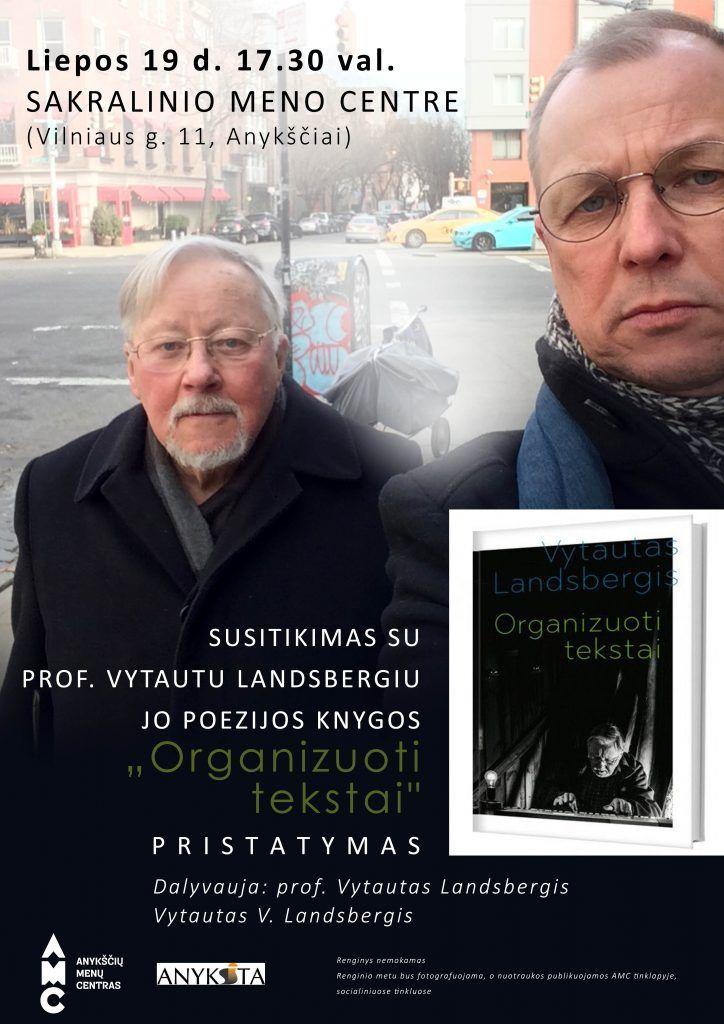 """Susitikimas su prof. Vytautu Landsbergiu ir jo poezijos knygos """"Organizuoti tekstai"""" pristatymas"""