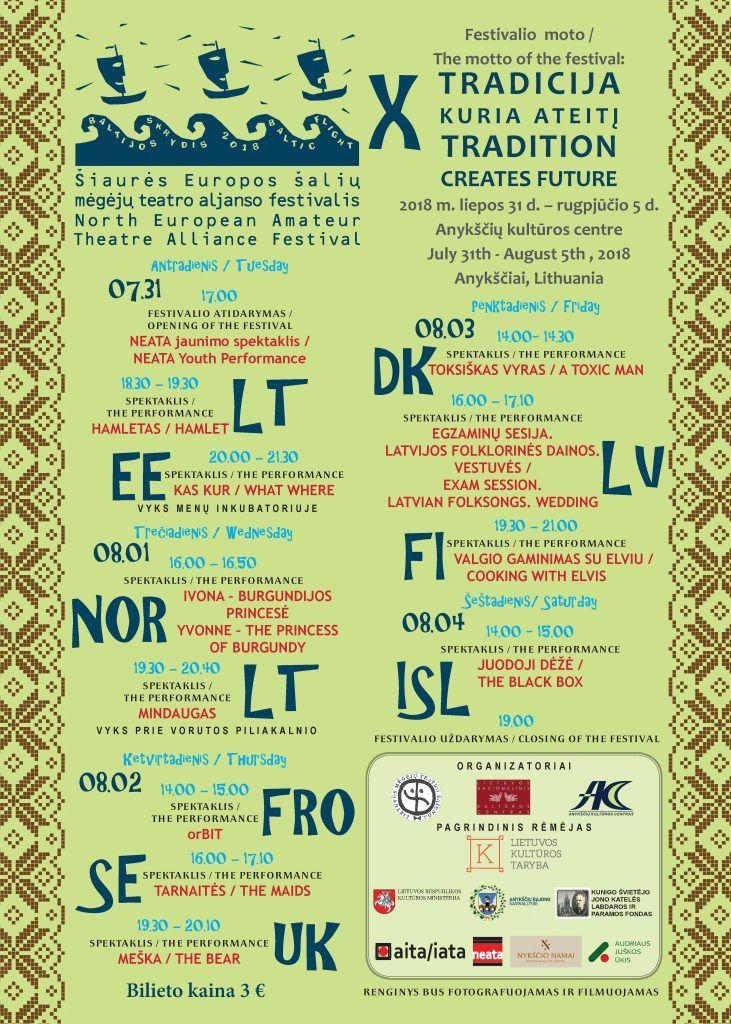 """Šiaurės Europos šalių mėgėjų teatro aljanso (NEATA) festivalis """"Baltijos skrydis"""" - Festivalio atidarymas"""