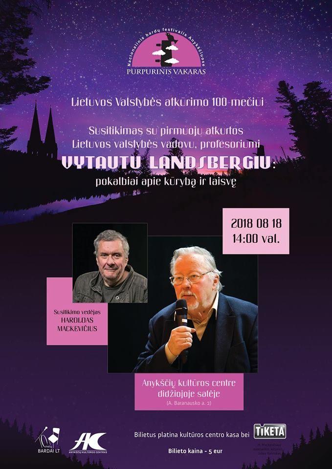 """Festivalis """"Purpurinis vakaras"""" (2018) - Susitikimas su profesoriumi Vytautu LANDSBERGIU: pokalbiai apie kūrybą ir laisvę"""