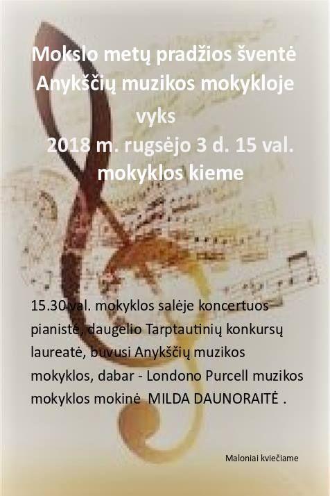 Mokslo metų pradžios šventė ir Mildos Daunoraitės solinis koncertas