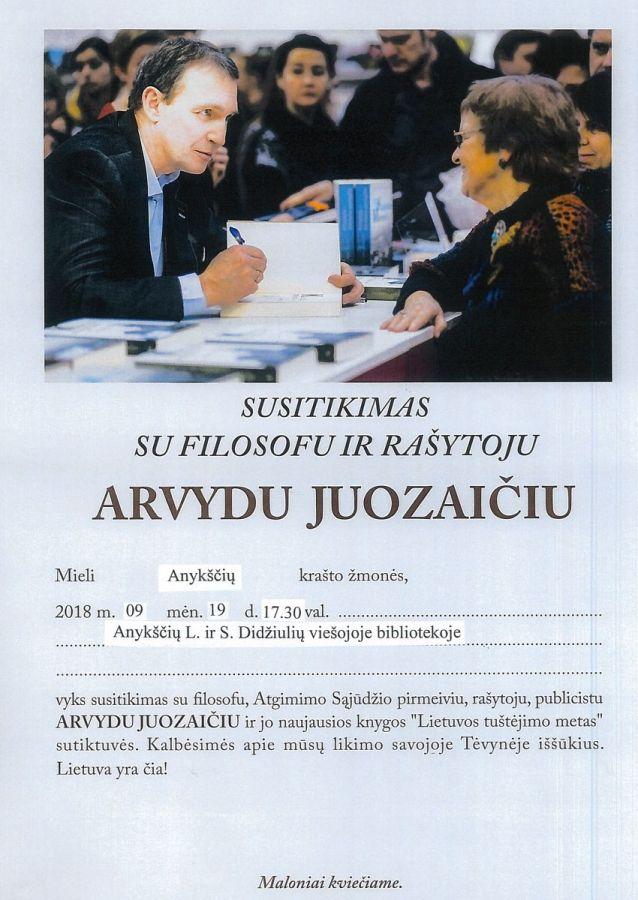 Susitikimas su filosofu ir rašytoju Arvydu Juozaičiu
