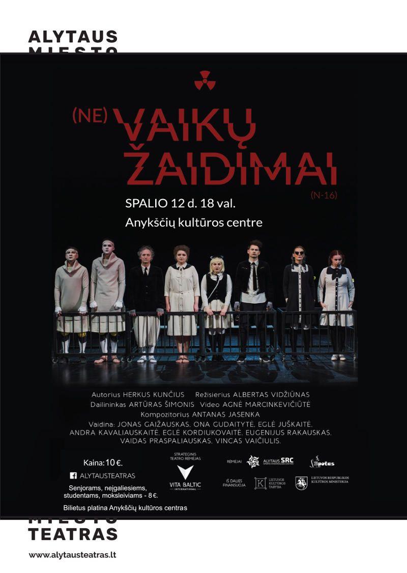 """Nacionalinės dramaturgijos festivalis """"Pakeleivingi"""" (2018) - Alytaus miesto teatras """"(Ne) vaikų žaidimai"""""""
