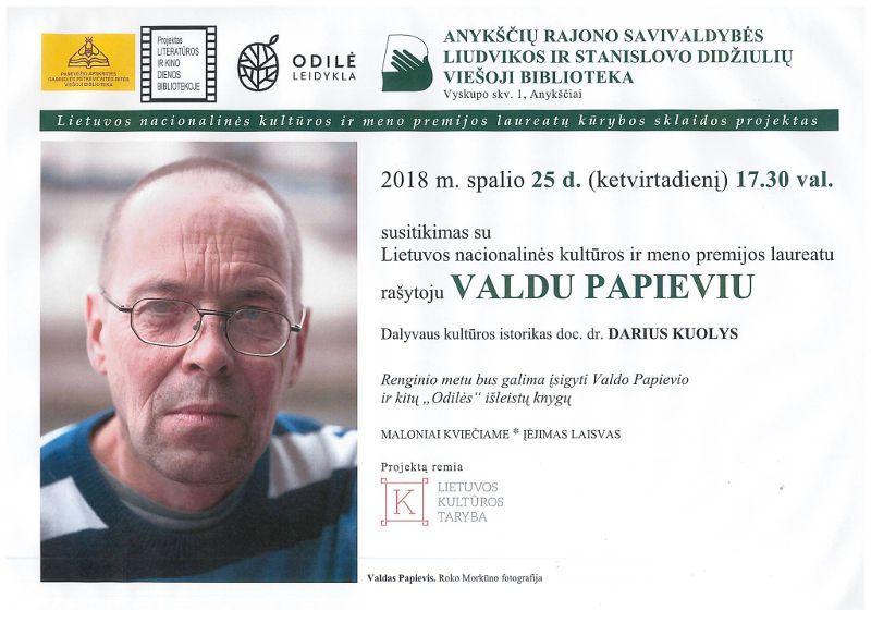 Susitikimas su rašytoju Valdu Papieviu Anykščių bibliotekoje