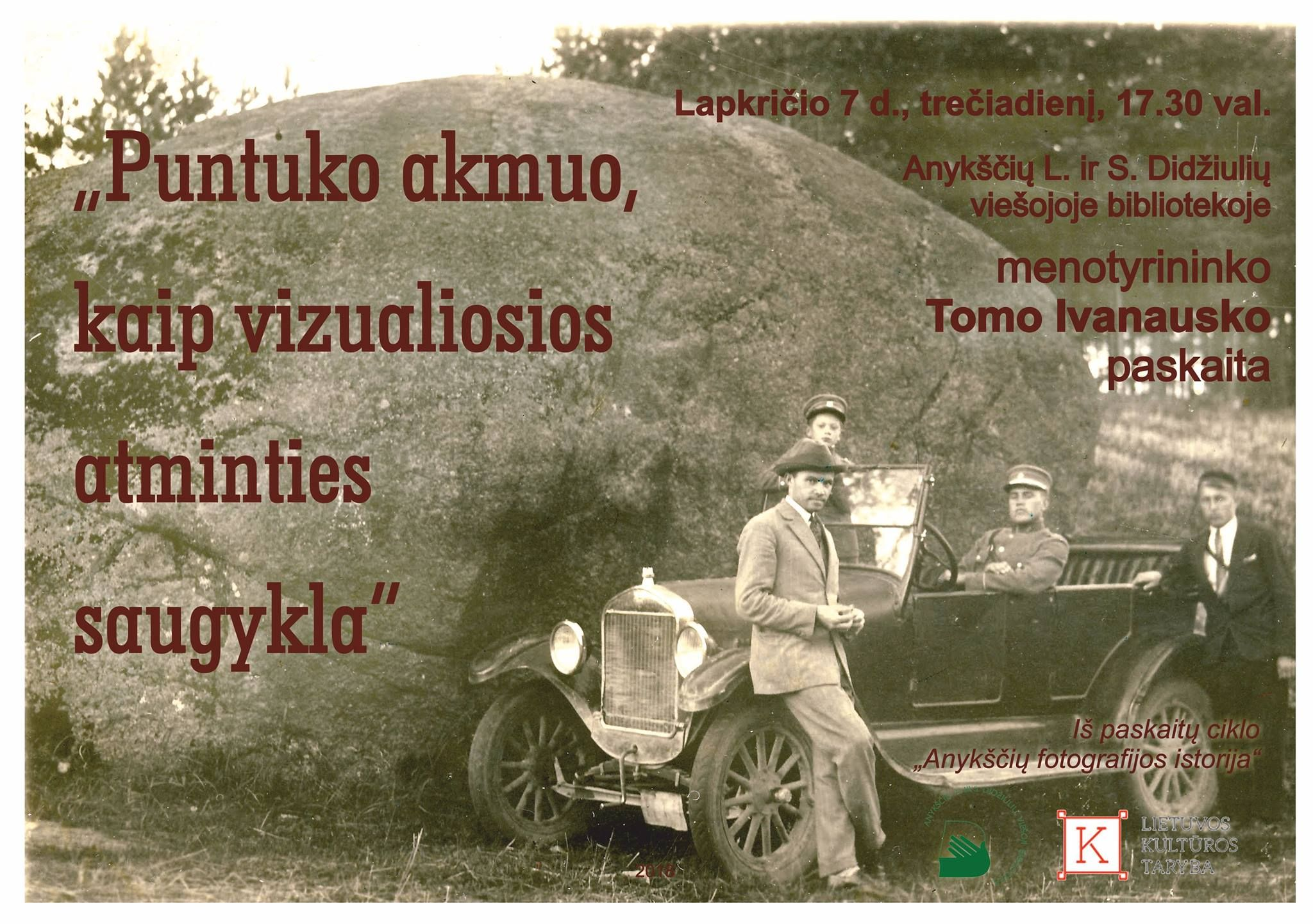 """Menotyrininko Tomo Ivanausko paskaita """"Puntuko akmuo kaip vizualiosios atminties saugykla"""""""