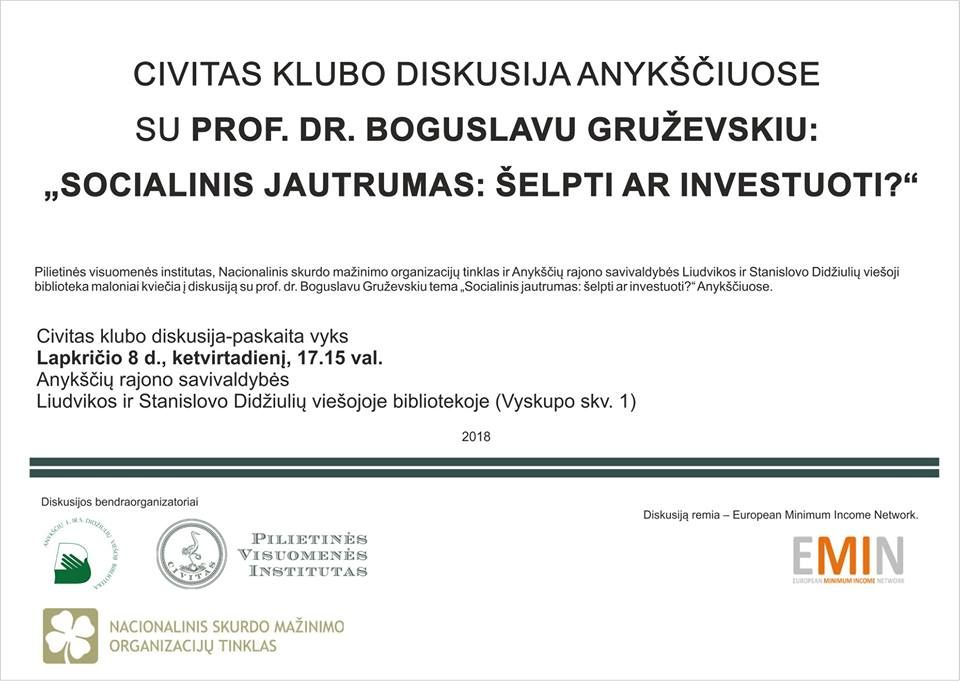 """Diskusija su prof. dr. Boguslavu Gruževskiu tema """"Socialinis jautrumas: šelpti ar investuoti?"""""""