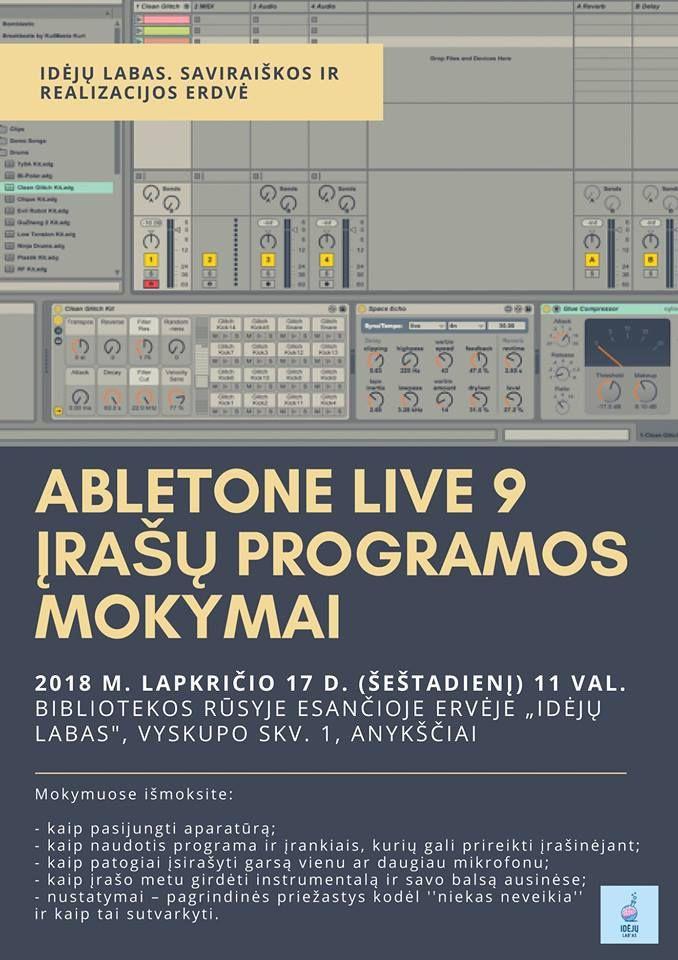 """""""Abletone LIVE 9"""" įrašų programos mokymai"""
