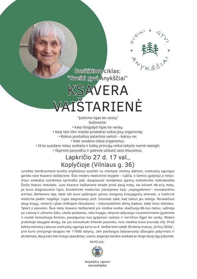"""Susitikimų ciklas """"Sveiki gyvi Anykščiai"""" / Dalyvauja docentė, chemijos mokslų daktarė Ksavera Vaištarienė"""
