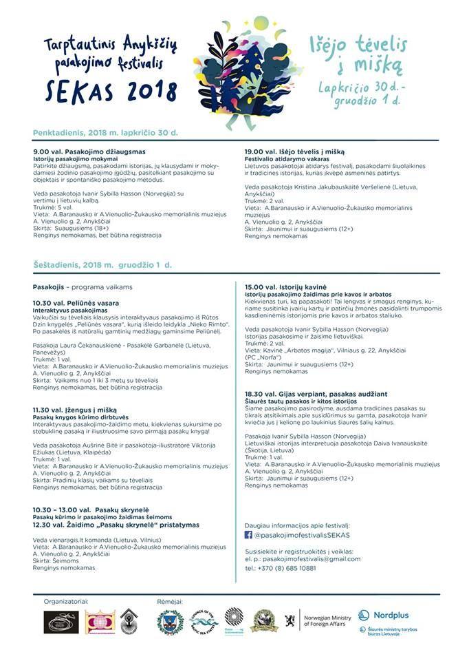 """Tarptautinis Anykščių pasakojimo festivalis """"SEKAS"""" (2018) / Gijas verpiant, pasakas audžiant / Šiaurės tautų pasakos ir kitos istorijos"""