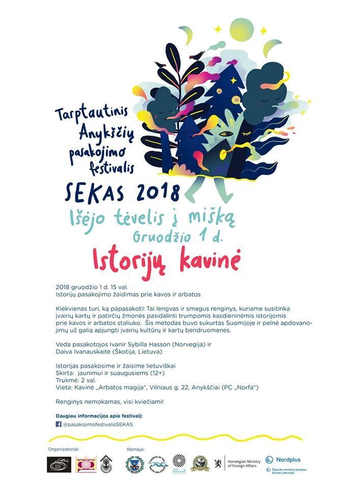 """Tarptautinis Anykščių pasakojimo festivalis """"SEKAS"""" (2018) / Istorijų kavinė / Istorijų pasakojimo žaidimas prie kavos ir arbatos"""