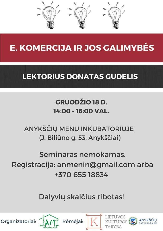 """Seminaras """"E. komercija ir jos galimybės"""""""