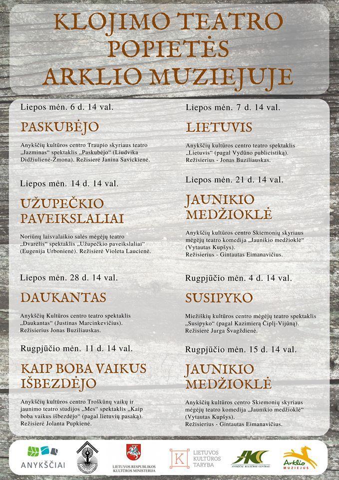 """Klojimo teatro popietės Arklio muziejuje (2018) - Spektaklis pagal Justino Marcinkevičiaus draminę apysaką """"Daukantas"""""""