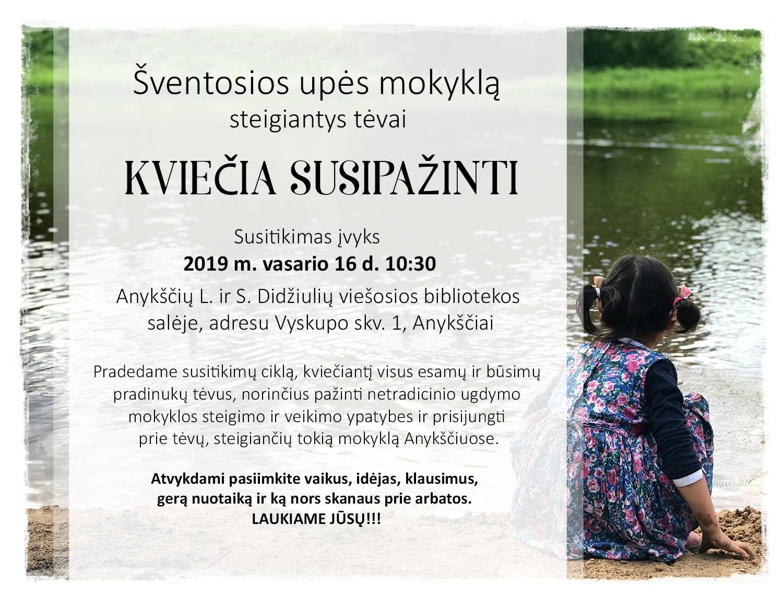 Šventosios upės mokyklą steigiantys tėvai kviečia susitikti!