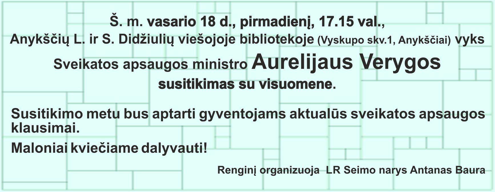 Sveikatos apsaugos ministro Aurelijaus Verygos susitikimas su visuomene