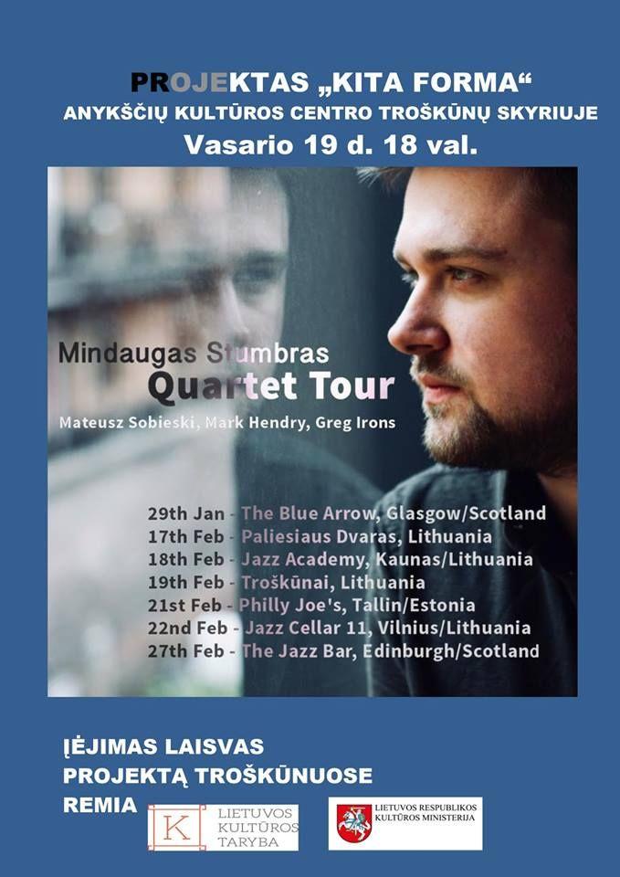 """Projektas """"Kita forma"""" / Koncertuoja tarptautinis džiazo kvartetas"""