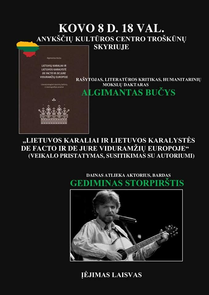 """A. Bučio knygos """"Lietuvos Karaliai ir Lietuvos Karalystė de facto ir de jure Viduramžių Europoje"""" pristatymas"""