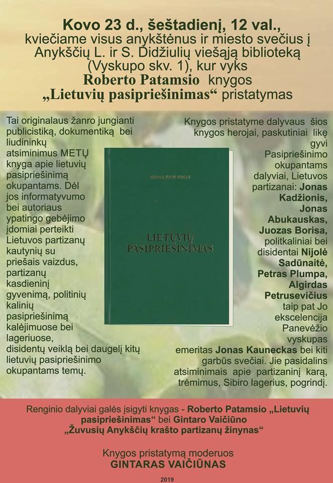"""Roberto Patamsio knygos """"Lietuvių pasipriešinimas"""" pristatymas"""