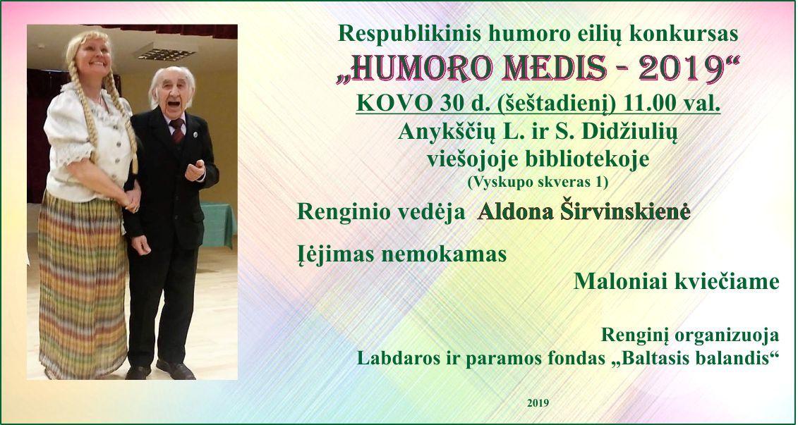 """Respublikinis humoro eilių konkursas """"Humoro medis"""" (2019)"""