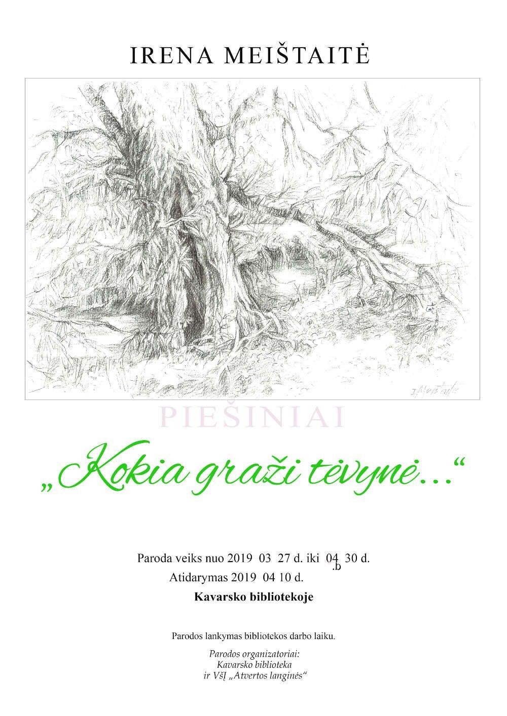 Dailininkės Irenos Meištaitės piešinių paroda Kavarsko miesto bibliotekoje / Atidarymas